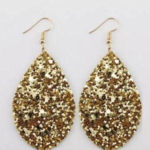Gold Sparkly Tear Drop Earrings